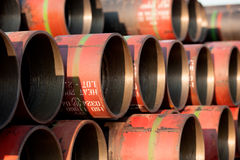Pipes for drilling rig Royalty Free Stock Photos