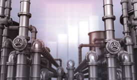 Pipes. Factory, oil pipes and chart Stock Images