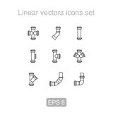 Pipes, fittings icon set . Linear icon. Stock Photos