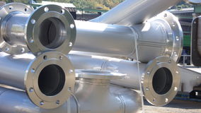 Pipes and Flange. Industrial Stainless Steel Aperture Construction with fixed integral Flange Royalty Free Stock Photos