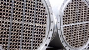Pipes and Flange. Industrial Stainless Steel Aperture Construction with fixed integral Flange Royalty Free Stock Images