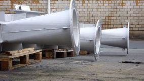 Pipes and Flange. Industrial Stainless Steel Aperture Construction with fixed integral Flange Royalty Free Stock Image