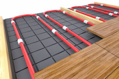 Pipes for floor heating Stock Image