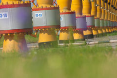 Pipes  are on the gas compressor station.  Royalty Free Stock Image