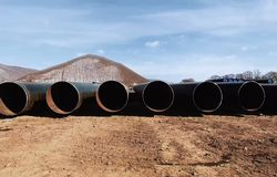 Pipes of a gas pipeline, construction and laying of pipelines for transportation of gas and oil stock photography