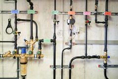 Pipes of heating system Royalty Free Stock Photo