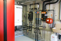Pipes of heating system Royalty Free Stock Photography