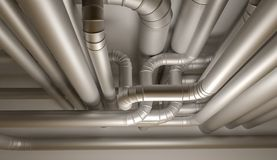 Pipes of HVAC system. 3D Illustration. Royalty Free Stock Image