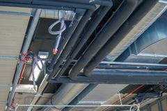 Pipes of HVAC system heating ventilation and air conditioning royalty free stock images