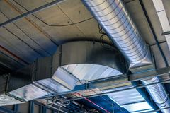 Pipes of HVAC  system heating ventilation and air conditioning.  Royalty Free Stock Image