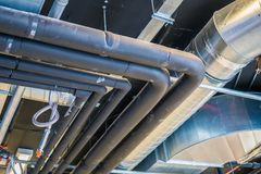 Pipes of HVAC system & x28;heating ventilation and air conditioning& x29; stock images