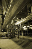 Pipes inside energy plant Royalty Free Stock Photography