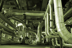 Pipes inside energy plant Royalty Free Stock Photos