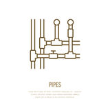 Pipes installation routing flat line icon. Outline sign of pipe, valve. Vector illustration for house equipment store or Royalty Free Stock Photography