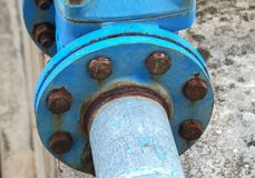 Pipes joints and rusty water plumbing steel industrial Stock Image