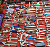Pipes for marihuana. Various pipes for marihuana, on a local indian market place Stock Photo