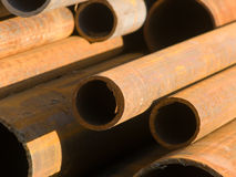 Pipes from metal in a stack Stock Photos