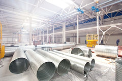 Pipes in Modern factory construction site Royalty Free Stock Images