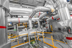 Pipes in a modern thermal power station Royalty Free Stock Photos