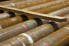 Pipes for natural gas drilling Royalty Free Stock Photos