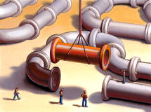 Pipes network. Team working on a pipes system. Mixed media illustration Stock Image
