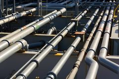 Pipes of oil product tanker cargo system. Pipeline of oil product tanker cargo system stock photos