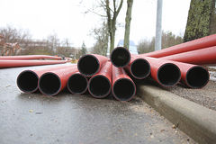 pipes plastic red Royaltyfri Foto