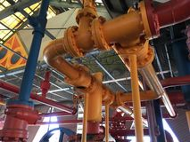 Pipes. Plumbing pipes orange and red stock photo