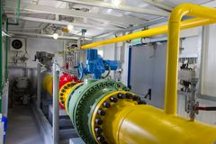 Pipes of power plant. Pipes of thermal power plant Stock Photos