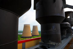Pipes of power plant.The industrial business. Stock Photo