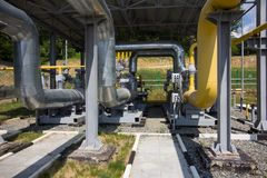 Pipes of power plant. Pipes of thermal power plant Royalty Free Stock Photo