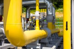 Pipes of power plant. Pipes of thermal power plant Royalty Free Stock Photography