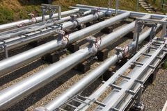 Pipes of power plant. Pipes of thermal power plant Stock Image