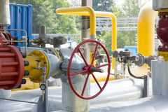 Pipes of power plant and valve. Pipes of thermal power plant Stock Photo