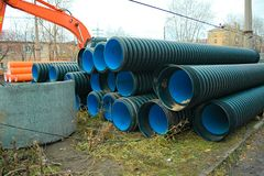 Pipes of PVC large diameter Royalty Free Stock Images