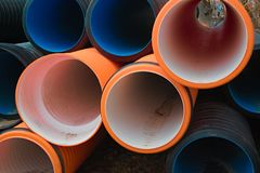 Pipes of PVC large diameter Stock Image