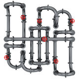Pipes with red valves Stock Photography