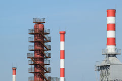 Pipes refinery furnaces and distillation column Stock Image