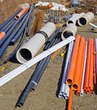 Pipes and reinforcing on building site Stock Photos