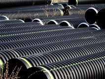 Pipes in a shipping yard Stock Photo
