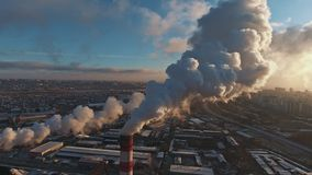 Pipes with smoke: industrial production, plant, air pollution.