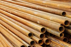 Pipes stack round cut Royalty Free Stock Photo