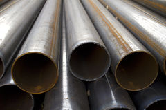 Pipes  stack  round  cut  steel Royalty Free Stock Photography