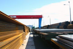 Pipes, steel sheets are on finished-products area Stock Photo
