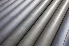 Pipes Steel Stacked Grey  Stock Image
