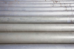 Pipes Steel Stacked Grey Horizontal Stock Image