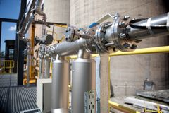 Pipes and tanks. In chemical factory Stock Image