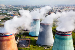 Pipes of the thermal power plant. Aerial view of pipes of the thermal power plant Stock Image