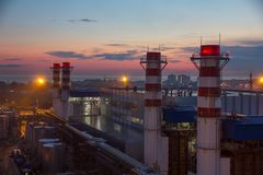Pipes of thermal power plant Royalty Free Stock Photography