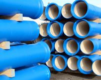 Pipes for transporting water and sewerage Stock Photography